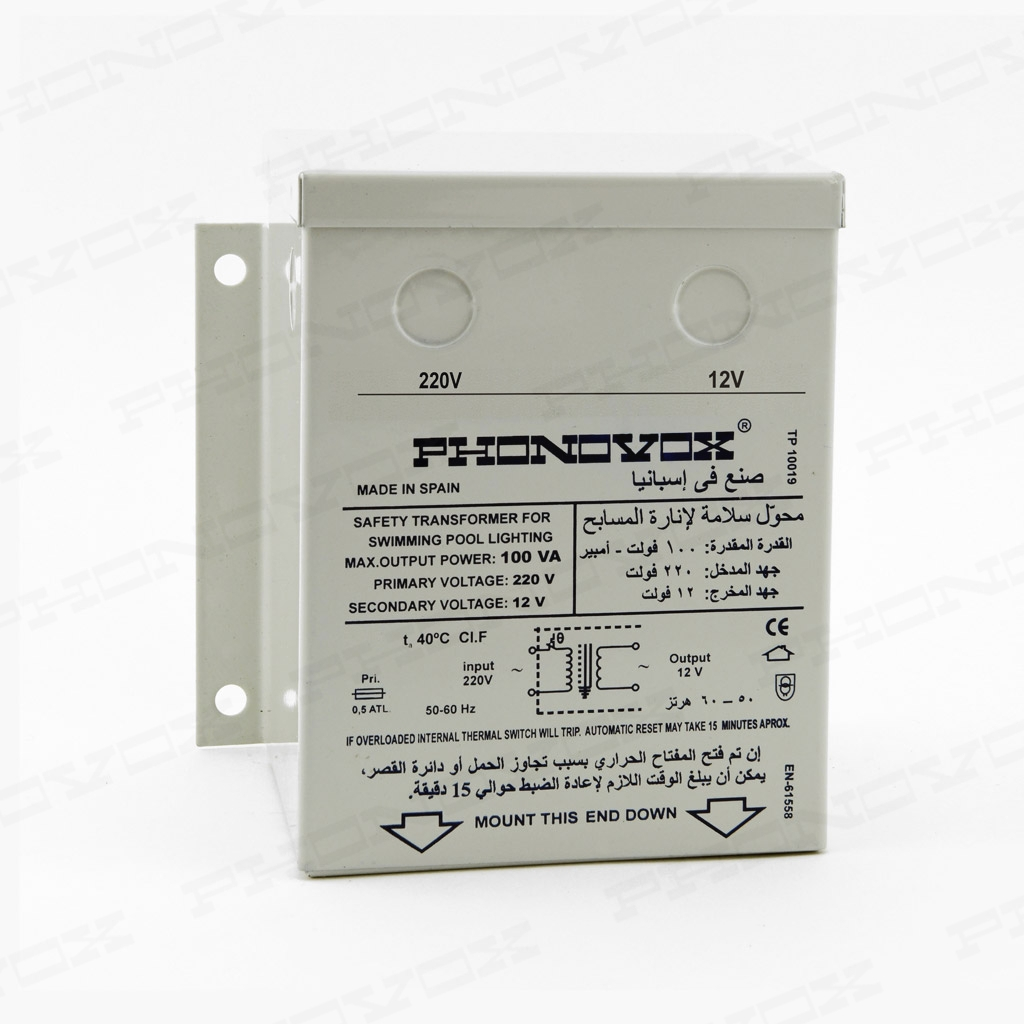 Transformador de seguridad para iluminación de piscinas en caja metálica IP-42