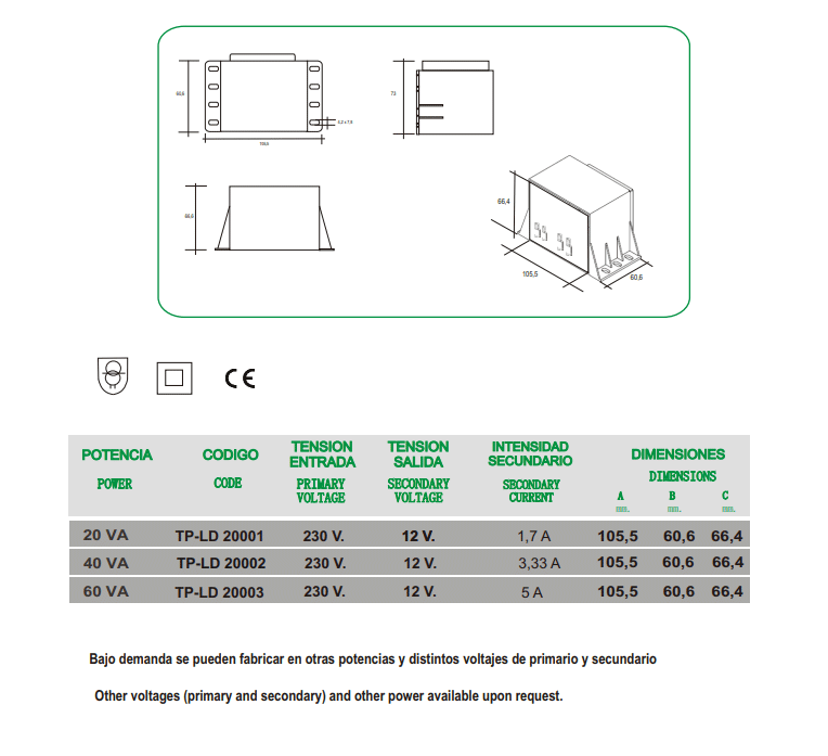 Safety Transformer for swimming pool lighting. TP-LD-20 for leds IP-00